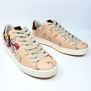 New Coach Blush Sneakers Penguins Cherries Sequins